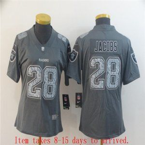 Women Oakland Raiders Josh Jacobs Jersey Grey